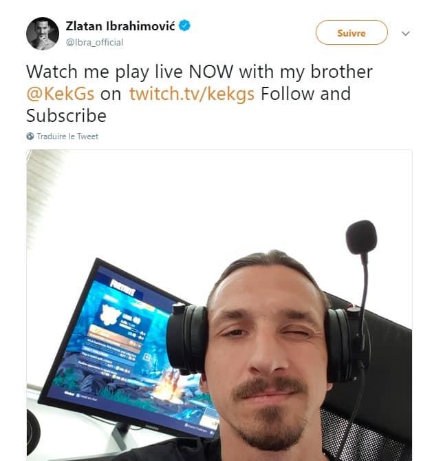 Zlatan Ibrahimovic - tweet - livestreaming Twitch
